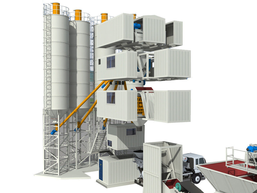 3.8m Discharge Height Concrete Mixing Plant 145KW Power